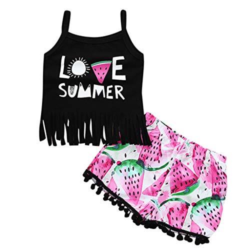 Sunhusing Summer Children's Sleeveless Love Heart Watermelon Letter Print Tassel Camisole + Shorts Set Black