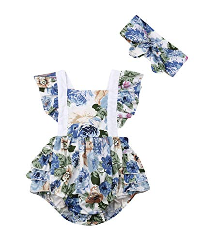 (Newborn Kids Baby Girls Clothes Floral Jumpsuit Romper Playsuit + Headband Outfits (Blue 2, 18-24 Months))