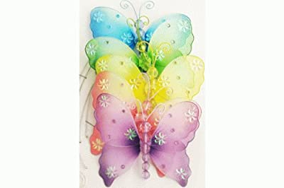 The Butterfly Grove Emily Butterfly Nursery Mobile 3D Hanging Mesh Nylon Decor, Multicolored