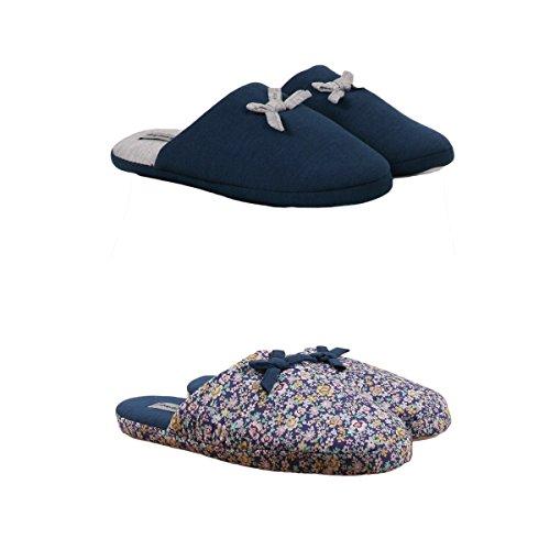 Pantoufles Femme Lot de 2 Couleur - Bleu Marine Taille - 38