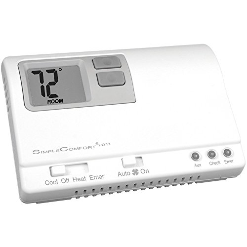 ICM Controls SC2211L Simple Comfort Non-Programmable Thermostat with Backlit Display for 3-Stage Heat/2-Stage Cool hp Only, Manual Changeover, Hardwired