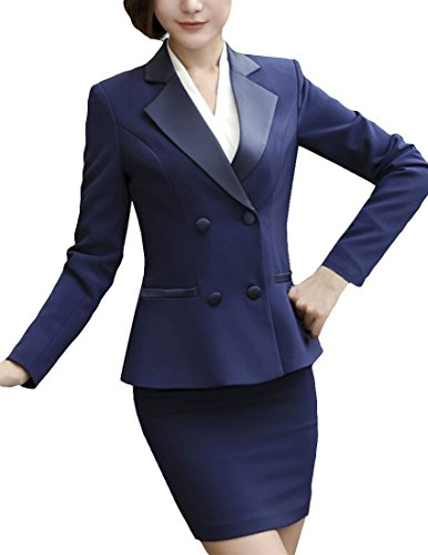 MFrannie Women Double Breasted Notch Lapel Suit Blazer and Skirt Set Blue - Double Suit Skirt Breasted