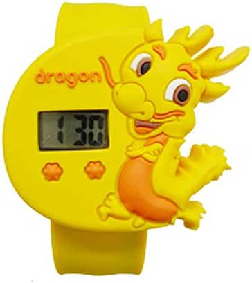 Cartoon Yellow Dragons Unisex Kids Water-resistant Sports Watch Bendable Rubber Strap Wrist Watch