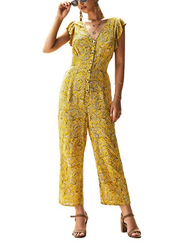 PRETTYGARDEN Women's Casual Button Front Ruffled Sleeveless V-Neck Floral Printed Long Wide Legs Pants Vintage Jumpsuit Romper (Yellow, Small)
