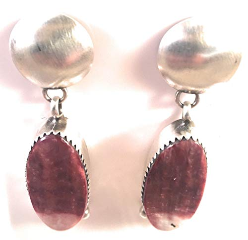 Navajo Purple Spiny Oyster Sterling Silver Dangles Signed from Nizhoni Traders LLC