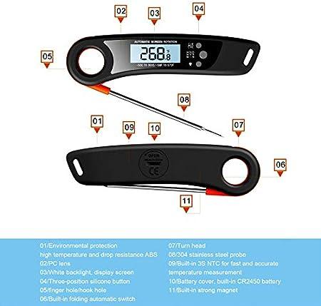 runnerequipment Termómetro de carne de lectura instantánea, termómetro digital de carne, el mejor termómetro impermeable ultra rápido con luz de fondo y calibración