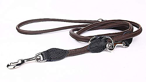 Capadi K0817 Round Adjustable Dog Lead Strong Nylon Covered with Soft Leather Brown Width 8 mm Length 220 cm
