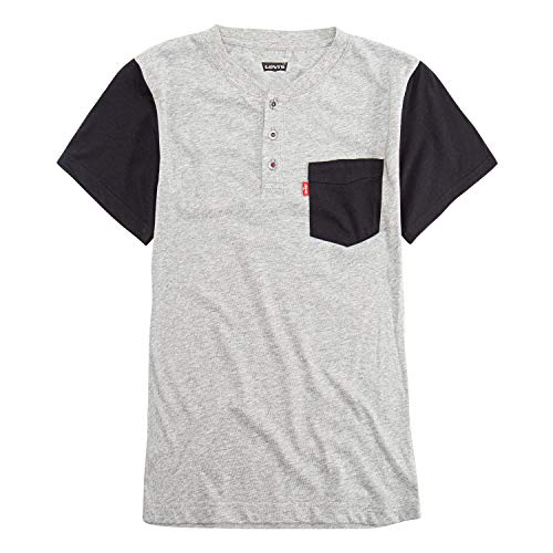 Levi's Boys' Big One Pocket Henley T-Shirt, Steel Grey Snow Yarn, S