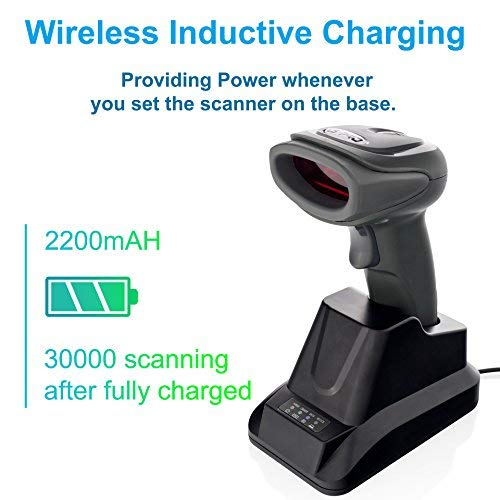 ode Scanner with USB Cradle Receiver Charging Base, 2.4GHz Handheld 1D Cordless Laser Barcode Reader, UP to 150Ft Transmission Range, long-life Battery 2200mAh, 1 Year Warranty. ()