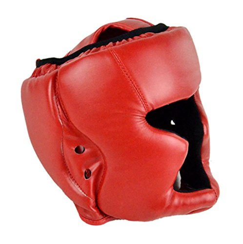 Boxing MMA Headgear - All4you Leather Boxing Training Helmet Fighting Head Guard Sparring Helmet(Red)