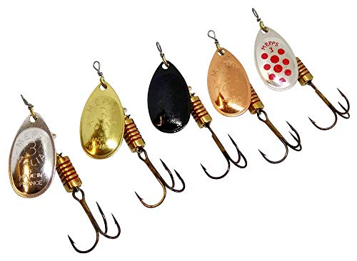 Fishing Spinners Set of 5, Best selections from Mepps, Savage Gear, Blue Fox - Best Lures for Bass, Trout, Salmon, Crappie and Musky Fishing (#3, S/G/C/BL/SRD)