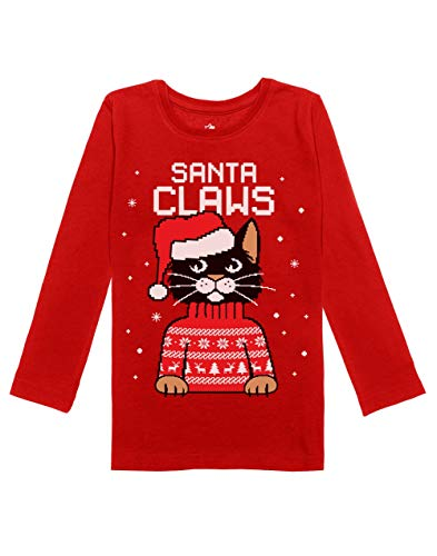 Ugly Christmas Shirt Ideas (Santa Claws Cat Ugly Christmas Sweater Girls Toddler Long Sleeve Fitted T-Shirt 5/6)