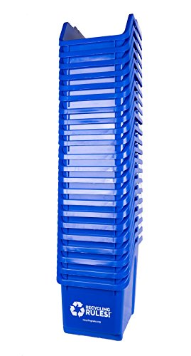 20 Pack of Bins - Blue Stackable Recycling Bin Container with Handle 6 Gallon
