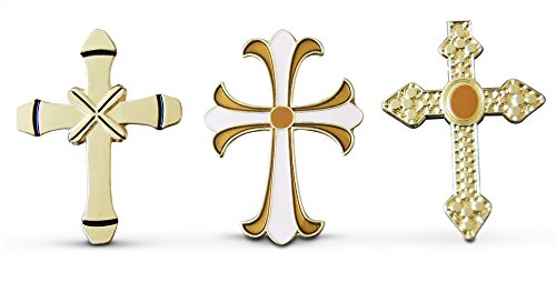 Saint Anthony Costume (Religious 3-Piece Mixed Crosses Lapel or Hat Pin & Tie Tack Set with Clutch Back by Novel Merk)