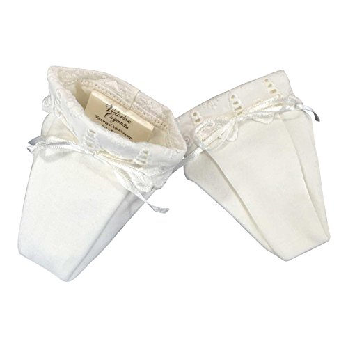 Victorian Organics Baby Booties Organic Cotton and Lace Infant Shoes (3M, 3-6 Months, Antique White)