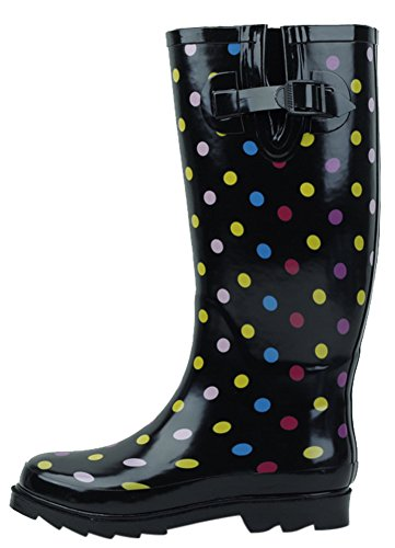 Cambridge Select Women's Waterproof Pattern Print Knee High Welly Rain Boot (9 B(M) US, Ditsy Dots Color) -