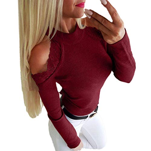 NCCIYAZ Womens Cold Shoulder Lace Patchwork Long Sleeve Tops Shirt Blouse Ladies Pullover Plus Size Oversized(2XL(12),Wine) -