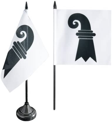 Flaggenfritze/® Tischflagge Schweiz Kanton Basel-Stadt 12 x 12 cm