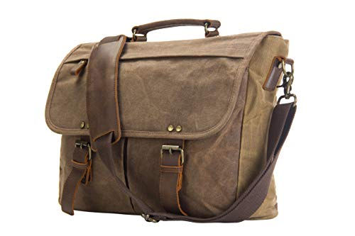emissary Laptop Messenger Bag (15.6'' Computer Bag) Canvas and Leather Shoulder Briefcase (Brown 15.6'' Laptop Bag)