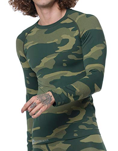 STARK SOUL Camouflage Functional Thermal Underwear Breathable Active Base Layer Set (Shirt/Green, L/XL) ()