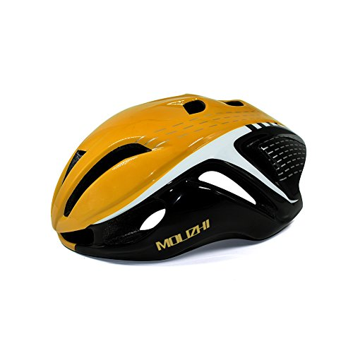 Molizhi Bike Helmet Low Air Resistance Cycling Helmet for Teens and Student Road Bike Mountain Bicycle, Size Adjustable (Yellow and Black)