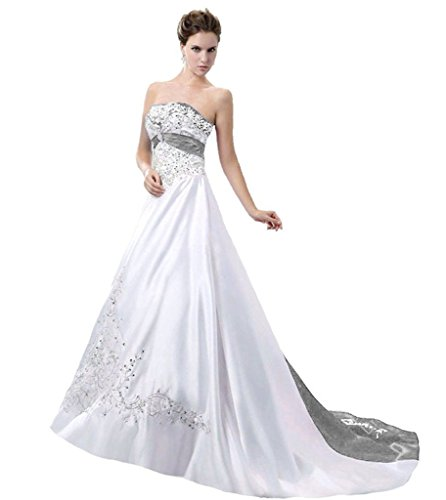APXPF Women's Satin Embroidery Wedding Dress With Cathedral Train White and Silver US16 (Train Dress Wedding Cathedral)
