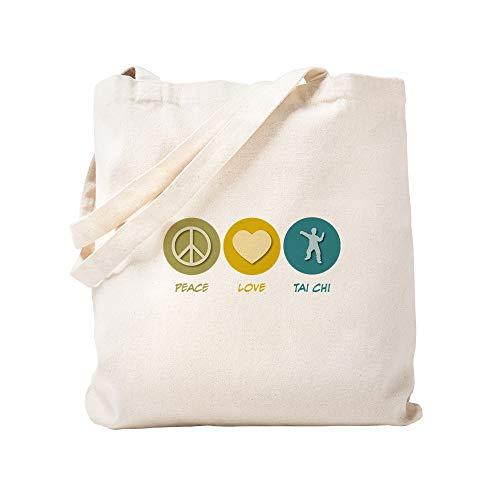 CafePress Peace Love Tai Chi Natural Canvas Tote Bag, Cloth Shopping Bag