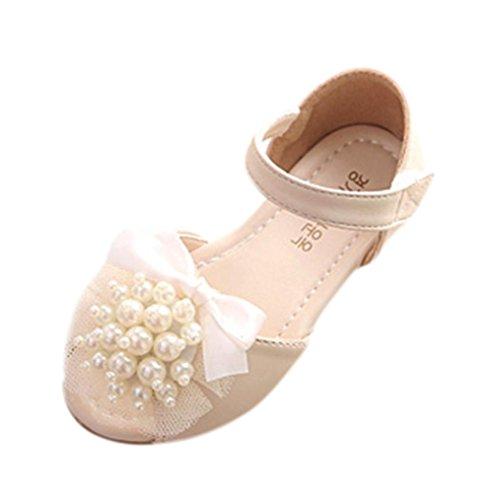 JIANGFU Mädchen/Perlen/Bogen/Sandalen, Baby Mode Sneaker Pearl Kleinkind Kinder Floral Prinzessin Casual Sandalen Schuhe Weiß