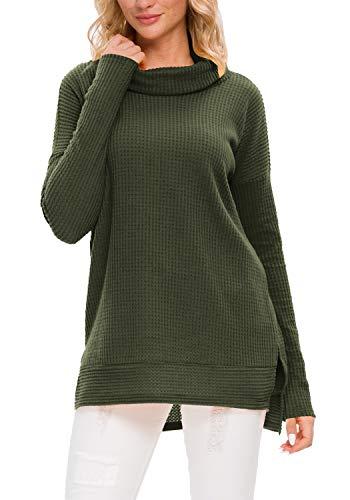 levaca Womens Fall Oversized Pullover Sweatshirts Tunic Tops for Leggings ArmyGreen XL