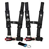 Pro Armor A114230 P151100 Black 4-Point Harness 3 Inch Straps, 2 Pack RZR UTV Seat Lap Belt with Bypass Clip
