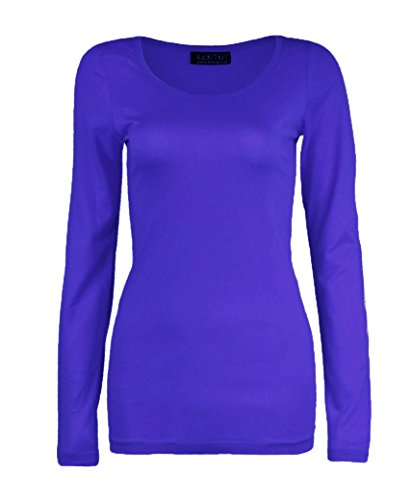 AHR_Manchester_LTD - Camiseta de manga larga - Básico - Cuello redondo - para mujer morado