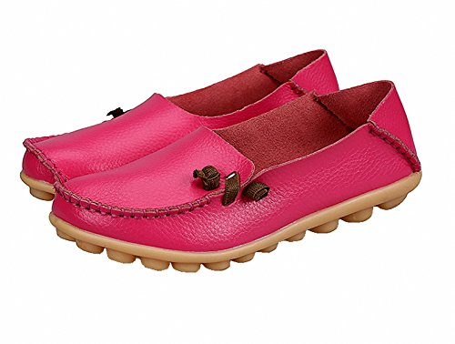 Loafer Schoenen, Dames Lederen Instappers Casual Moccasin Rijschoenen Platte Slip-on Slippers Rose Rood