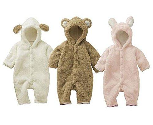 Luckyauction Baby Toddler Winter Cute Bear Fleece Romper Pink