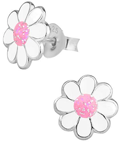 Hypoallergenic Sterling Silver Daisy Flower Stud Earrings for Kids (Pink/White -
