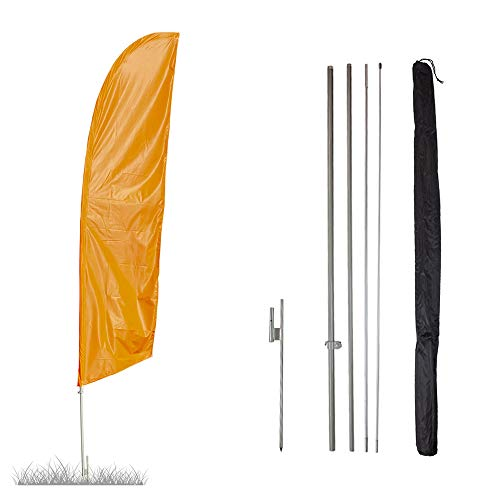 Vispronet - Neon Orange Solid Feather Flag Kit - 13.5ft Knitted Polyester Swooper Flag with Pole Set and Ground Spike - Dyed in The USA