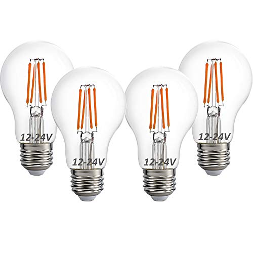 12 Volt 24 Volt 12V-24V LED Light Bulb, RV Camper Marine Light Bulb A19 Low Voltage 4W 470lm Edison Incandescent Bulb 40W, Off Grid Solar Battery System Lighting, E26 Base Warmwhite 2700K (Pack of 4)