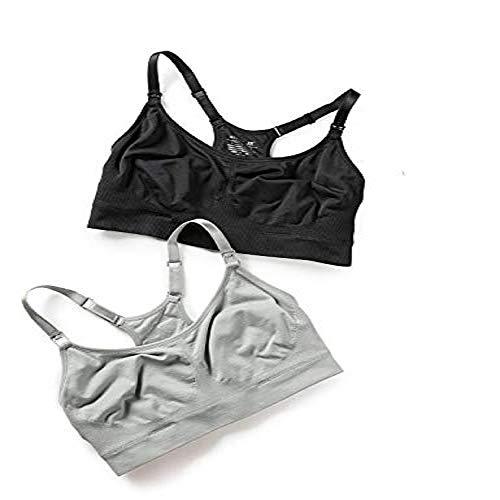 Gratlin Women's Racerback Support Seamless Maternity Nursing Bra Black/Silver Gray XL - (40D, 40DD, 42C, 42D)