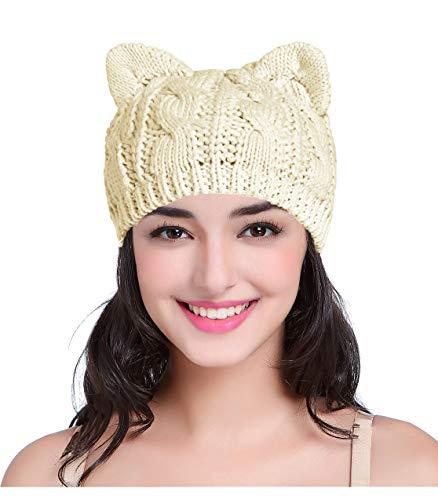 V28 Women Men Girls Xmas Teens Cute Cat Ear Knit Cable Rib Hat Cap Beanie Cat Ear Beige Medium (For Presents Handmade Christmas)