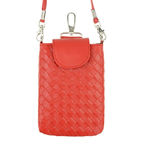 Rbenxia Cellphone Bag Woven Leather Crossbody Case Cover Pouch Purse Hand Bag for Smartphone