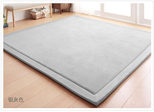 Colorful Mart Grey Area Rugs Home Area Rugs Living Room Rugs Bedroom Rugs Kids Area Rugs Modern Rugs Contemporary Rugs Floor Rugs Tatami Mat Play Mat Christmas Gift Idea 200cm x 200cm (78.7