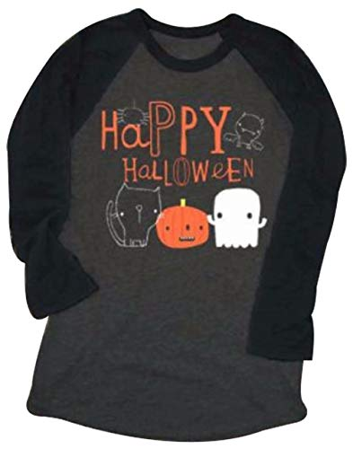 Women Happy Halloween Pumpkin Face Printed Baseball T-Shirt Raglan Long Sleeve Top Tees Size M -