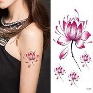 HJLHYL? 1pc flor de loto pegatina resistente al agua tatuaje ...