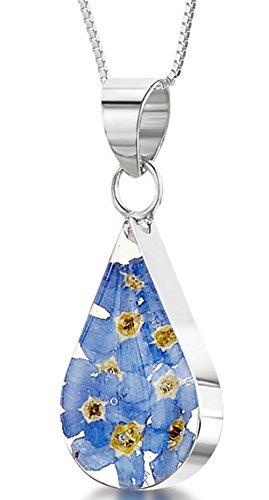 Plata Joyas con flores–Cadena (45cm, Reales colgante–gota–Vergissmeinnicht