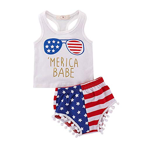 Infant Kids Baby Onesies Unisex Rompers American Flag Sveless Summer Bodysuits Jumpsuit 4th of July 0-18M White