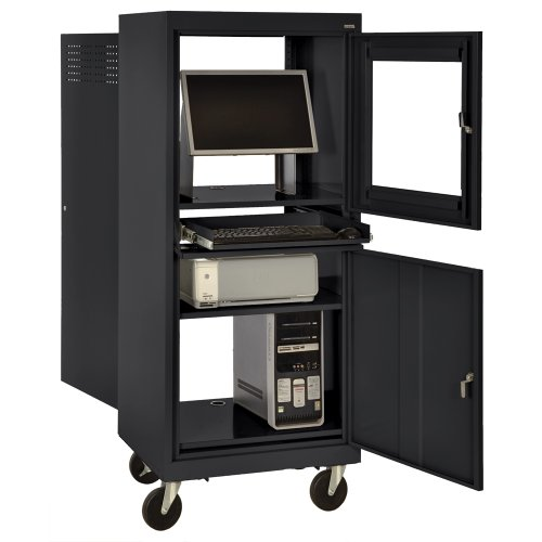 - Sandusky JG2663-09/BLK Black Steel Mobile Computer Security Workstation, 150 lbs Capacity, 26