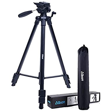 Albott 64  Travel Tripod Stand Portable Aluminium Lightweight with Carrying Case for Video DSLR Cameras Nikon Canon