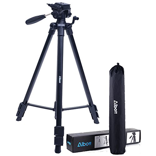 Albott 64″ Travel Tripod Portable Aluminium Lightweight with Carrying Bag for DSLR Cameras Video