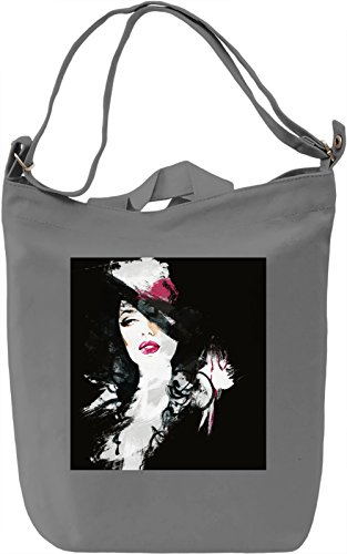 Black Portrait Borsa Giornaliera Canvas Canvas Day Bag  100% Premium Cotton Canvas  DTG Printing 
