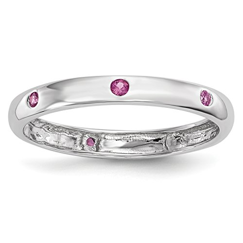 Pink Sapphire Set (ICE CARATS 14k White Gold Pink Sapphire Band Ring Size 6.75 Gemstone Fine Jewelry Gift Valentine Day Set For Women Heart)