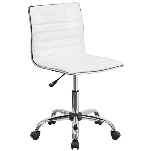 Flash Furniture Low Back Designer Armless White Ribbed Swivel Task Chair (Acrylic Chair Rolling)